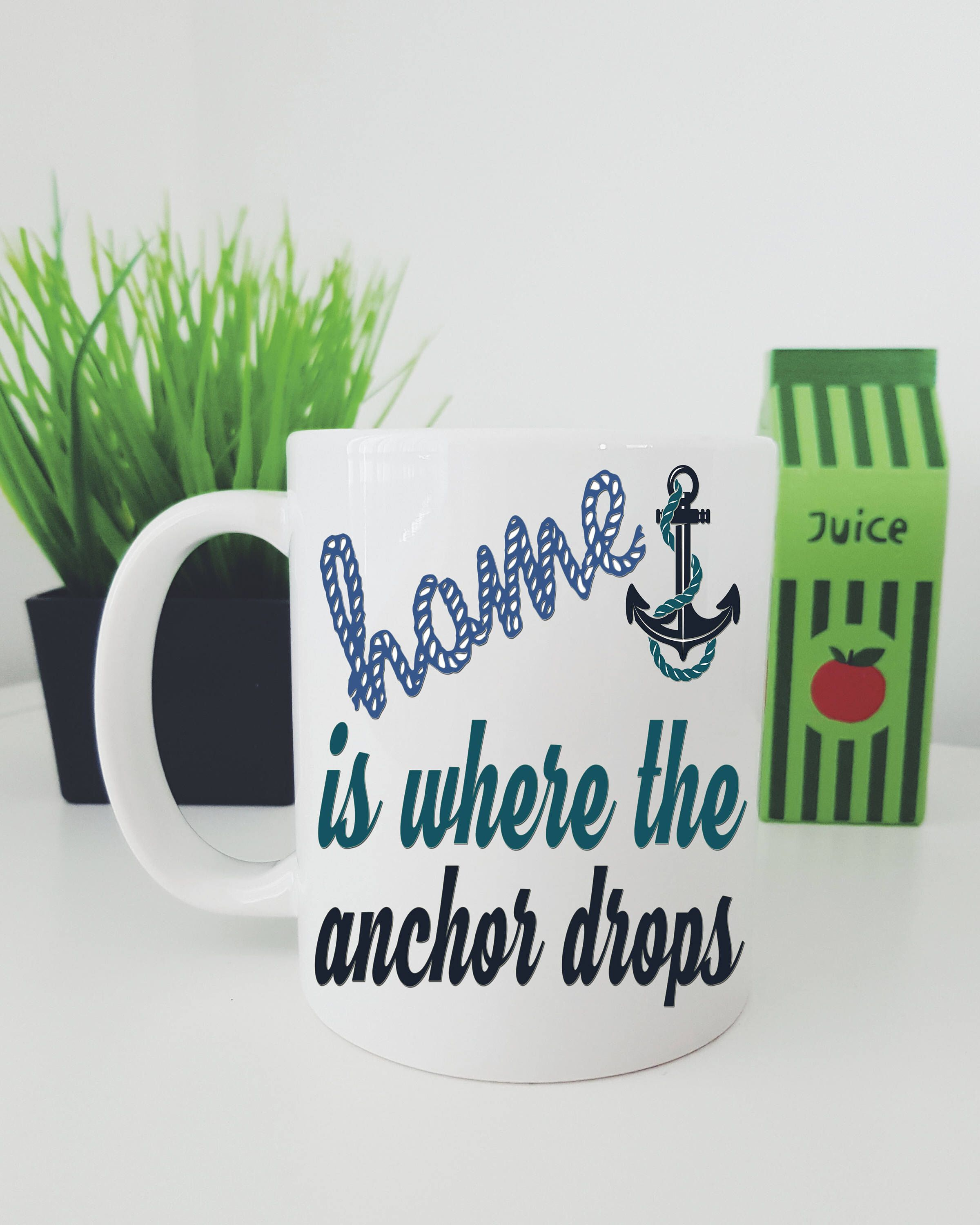Home Is Where The Anchor Drops Sailing Mug, Sailing Themed Mug Gift ...