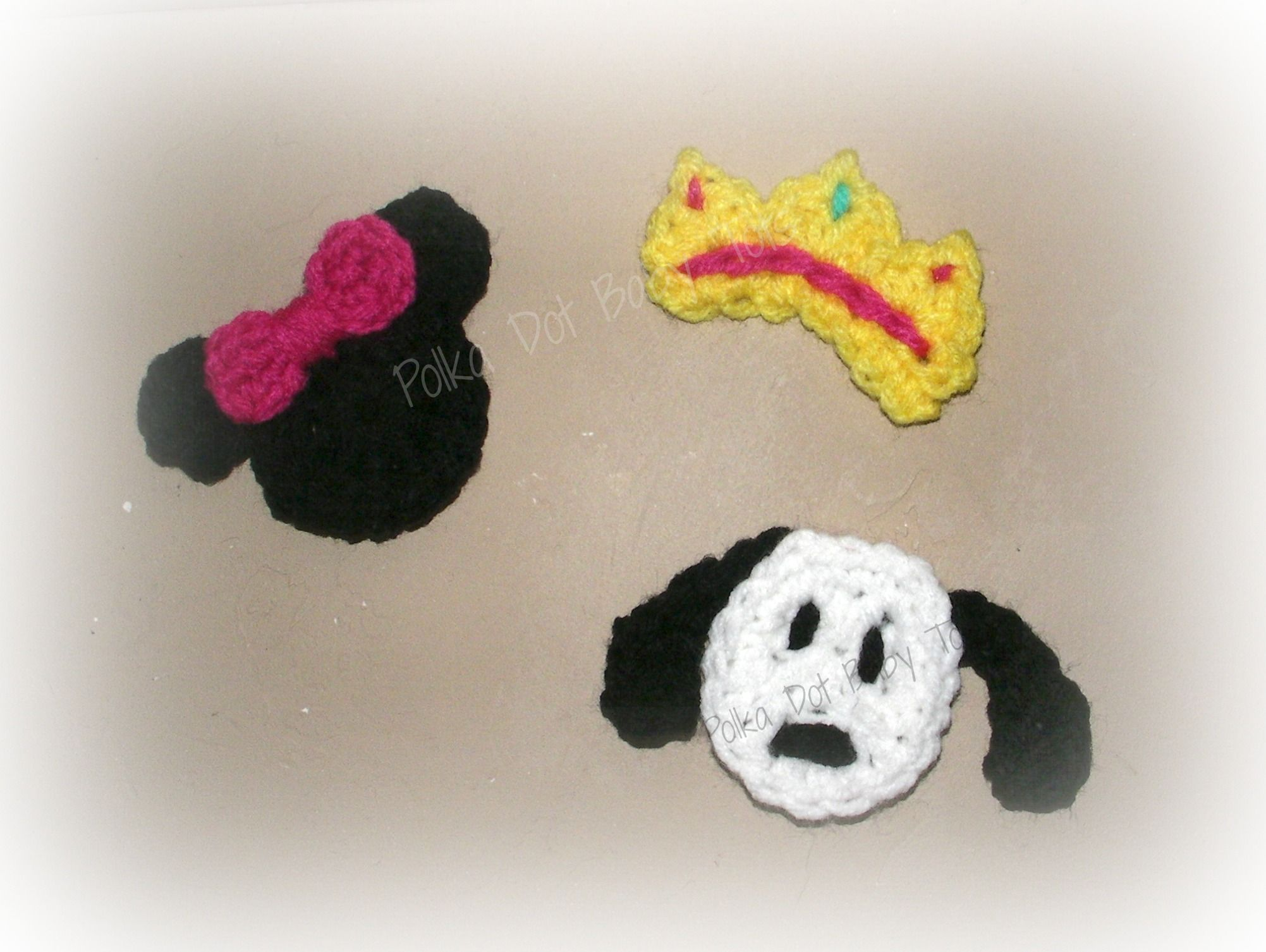 Crochet mini appliques for hair clips (inspired by Minnie, a puppy, and a princess crown)