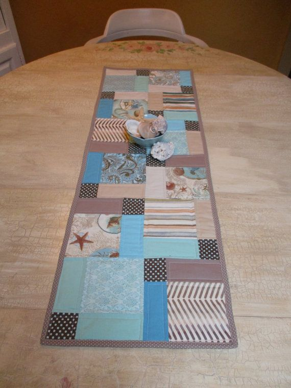 Beach Theme Quilted Table Runner Turquoise Beige By Paintedquilts