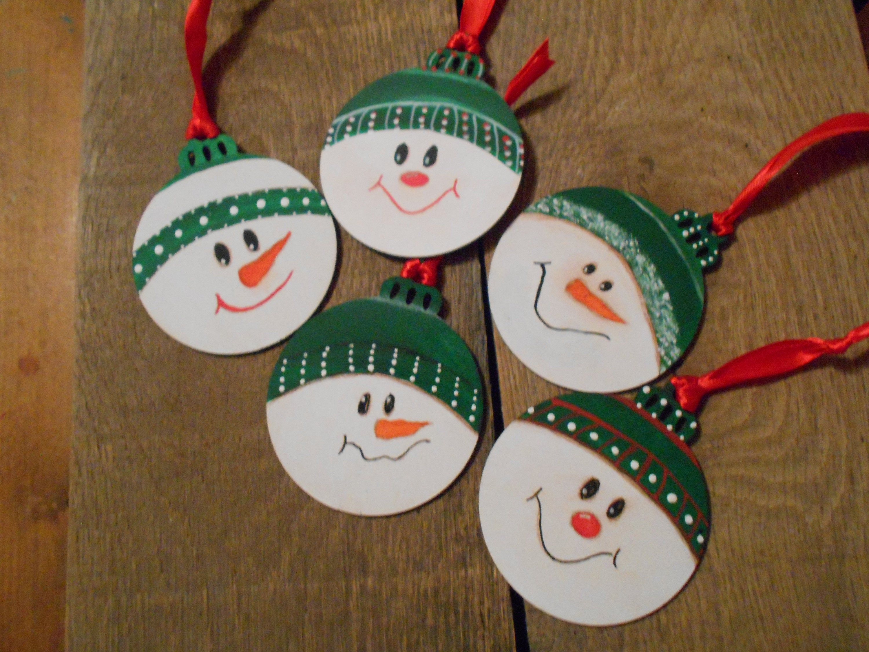 Hand Painted Wooden Snowman Ornaments Etsy Christmas Ornament Crafts Wood Christmas Ornaments Letter Ornaments