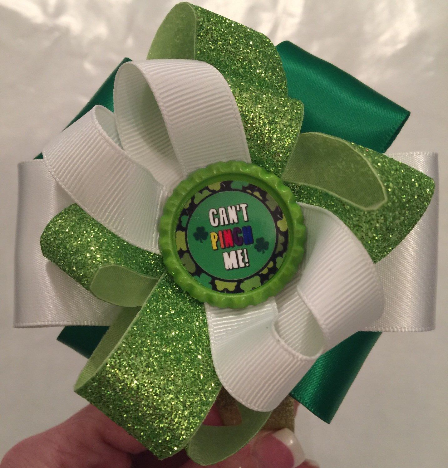 A personal favorite from my Etsy shop https://www.etsy.com/listing/262202085/st-pattys-day-cant-pinch-me-headband
