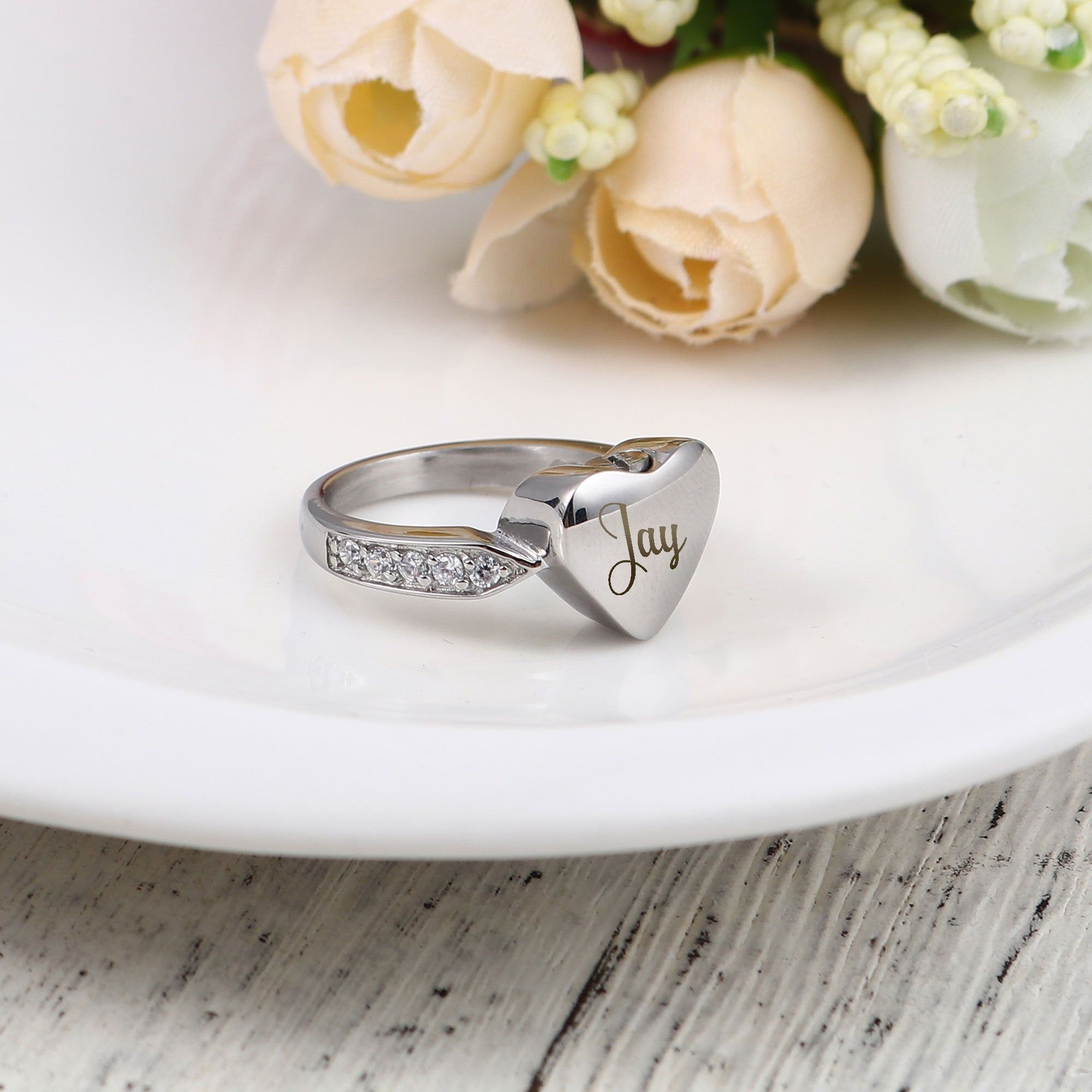 Personalized Heart Cremation Ring Urn Size 6 10Heart Urn
