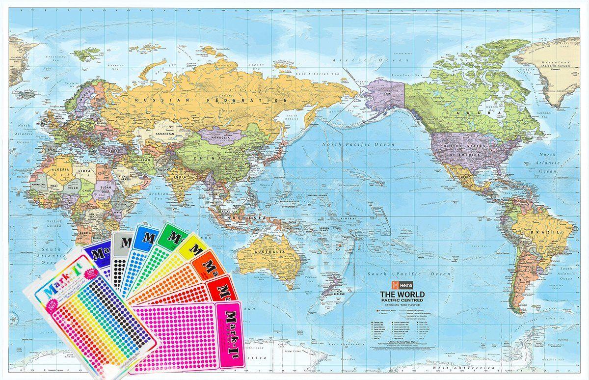 world hema political pacific 1550 x 990mm supermap on laminated wall maps id=45348