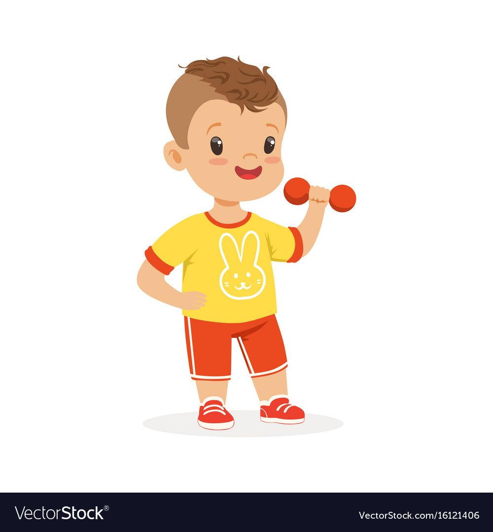 Boy Exercising With Dumbbell Kid Doing Sports Vector Image On Vectorstock Children Illustration Vector Images Kids