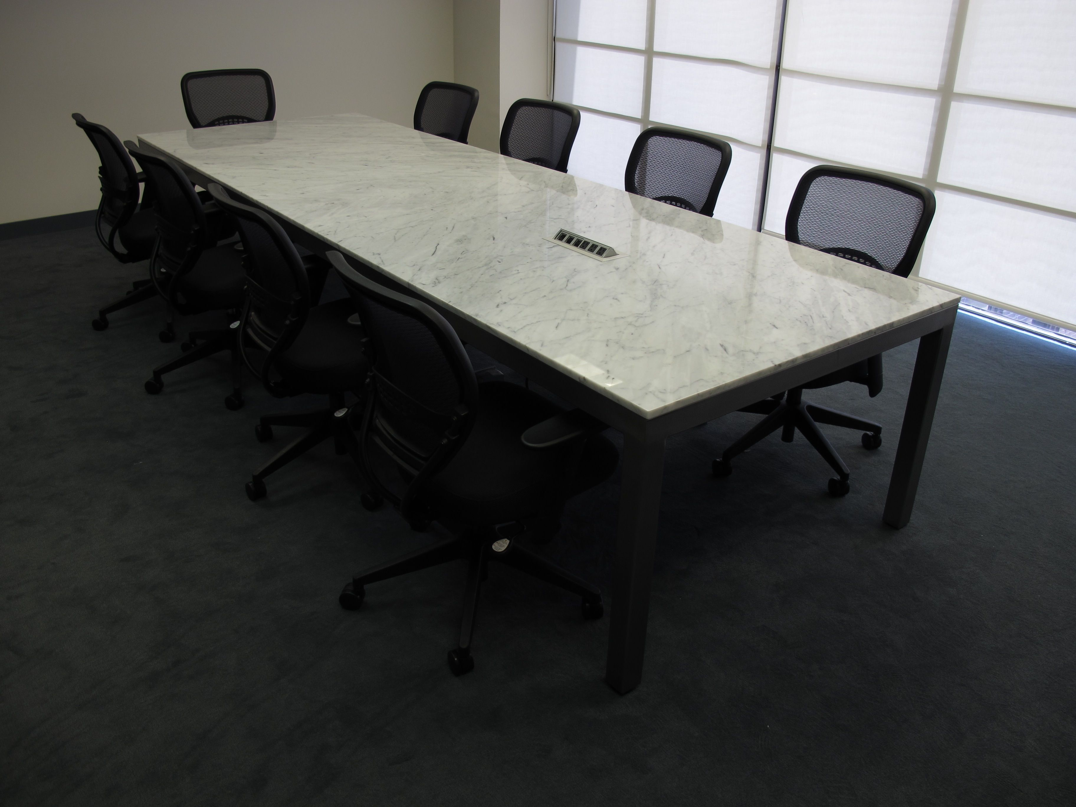 12u0027 two section marble conference table with integrated power data welded steel base