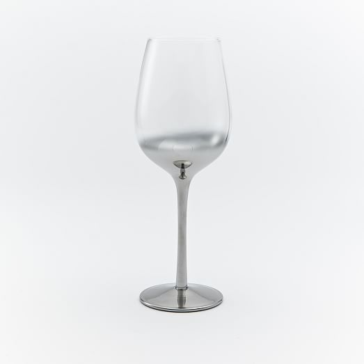 Metallic Ombre Stemware Red Wine Glasses, Silver, Individual
