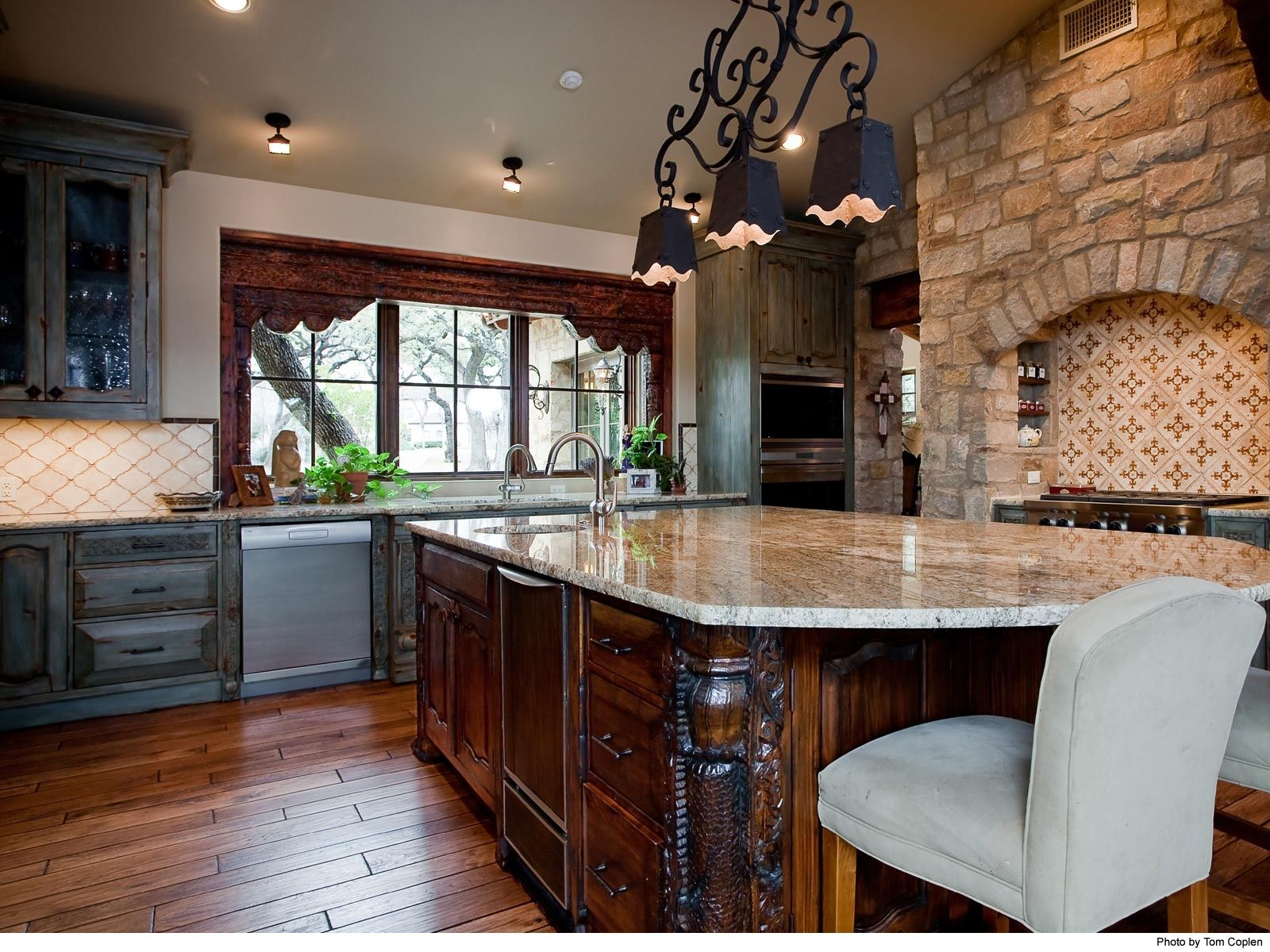 Two window kitchen design  amazing custom kitchen with two toned cabinets and stone surround