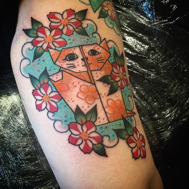 Origami lucky cat back of arm from last week on an ongoing origami themed half sleeve.x