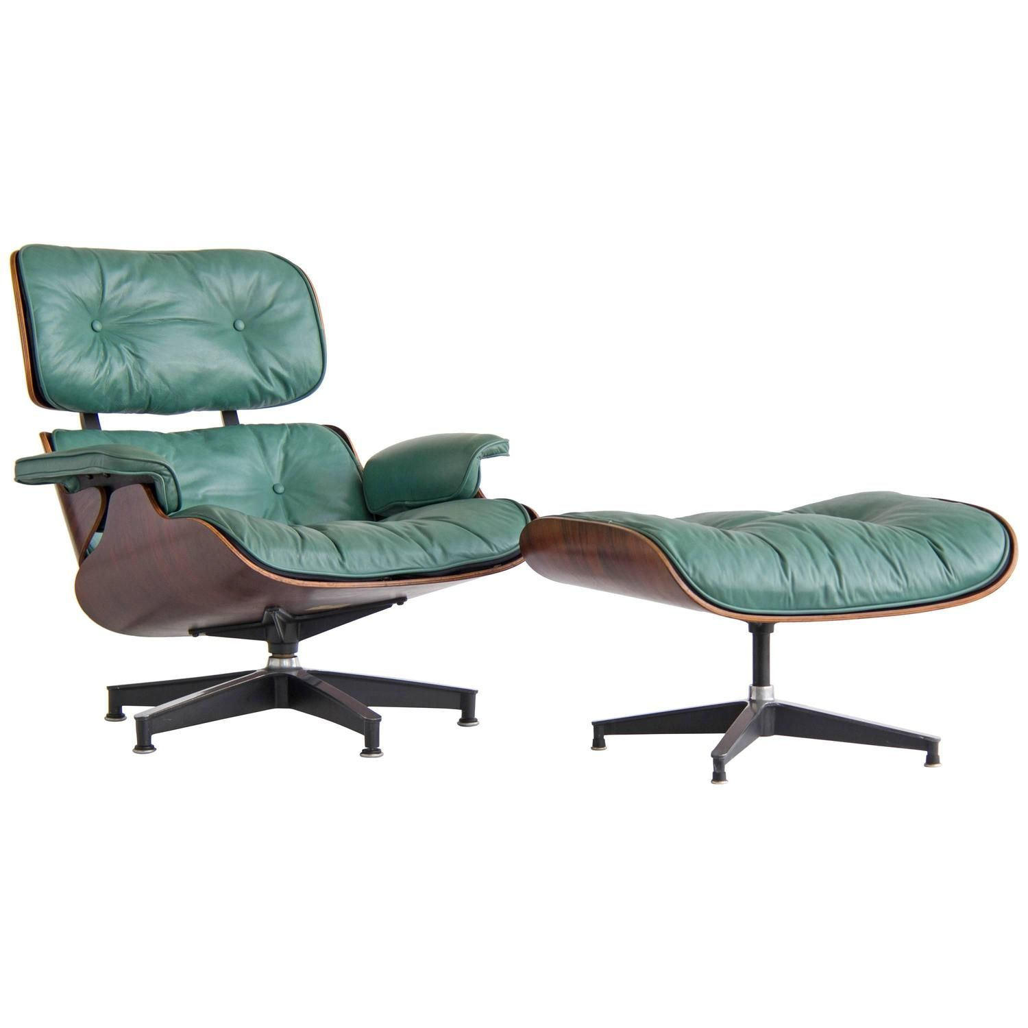 Eames lounge chair and ottoman in chocolate brown and rosewood