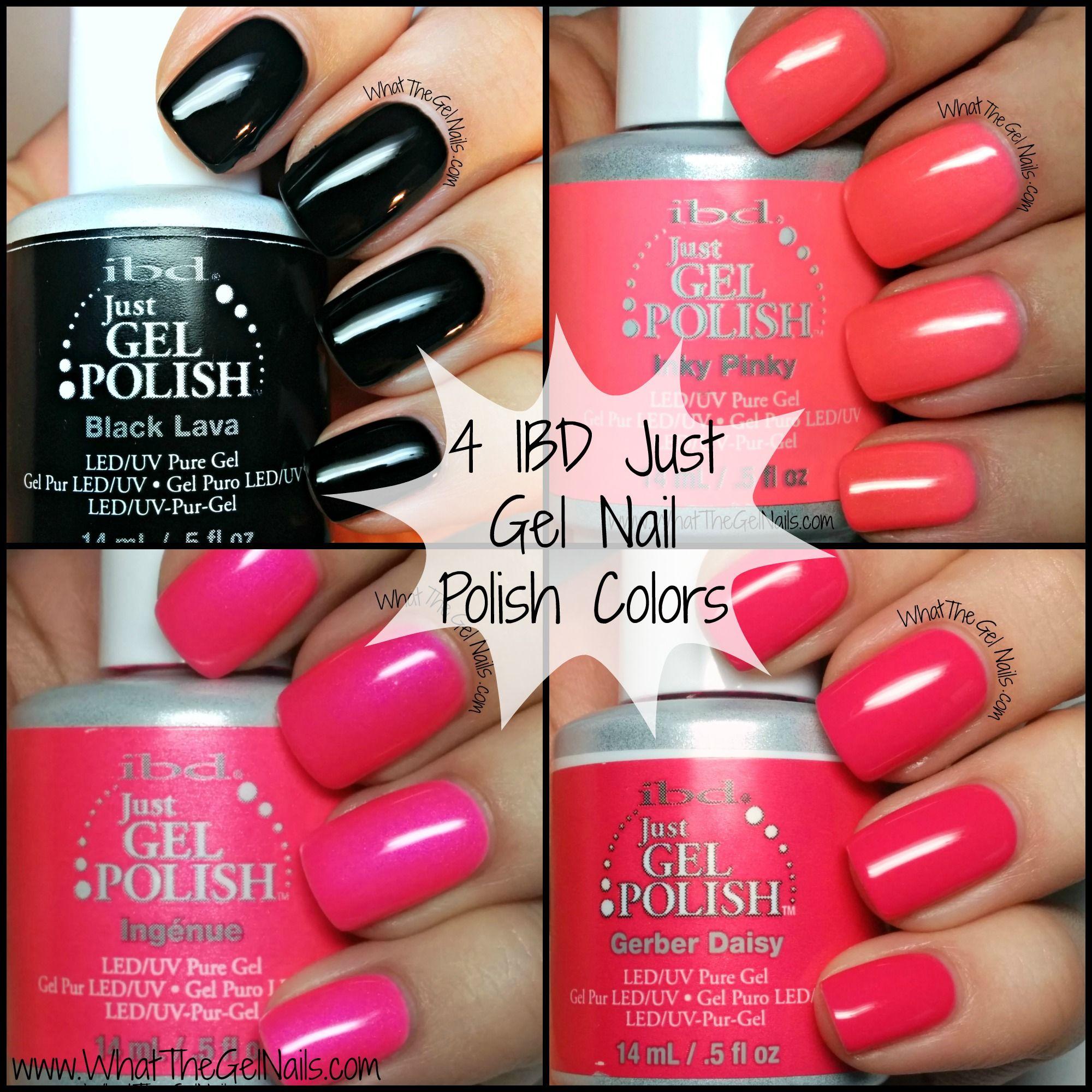 Black Gel Nail Polish: Swatches For 4 IBD Just Gel Nail Polish Colors. IBD Black