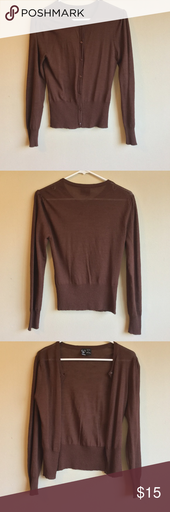 Windsor L Brown Cardigan Crew Neck Puff Sleeve | D, Crew neck and ...
