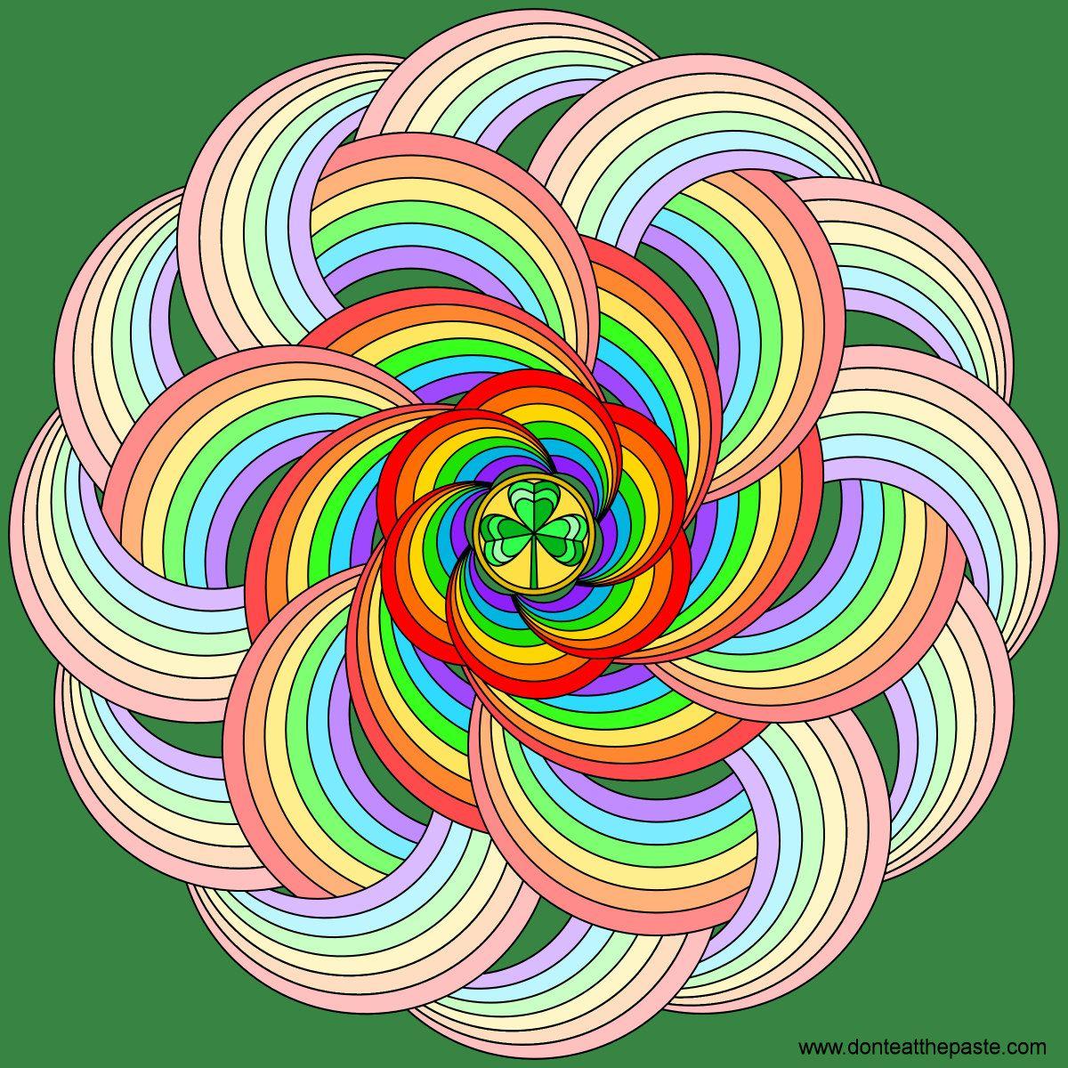 Rainbow With A Shamrock Mandala Coloring Version Available