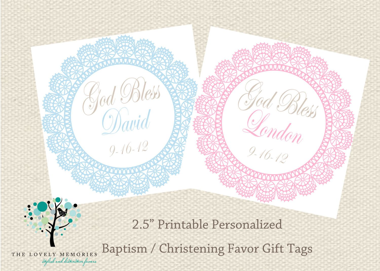Baptism And Christening Favor Gift Tags Diy Printable On Etsy Gift Tags Diy Christening Favors Gift Tags