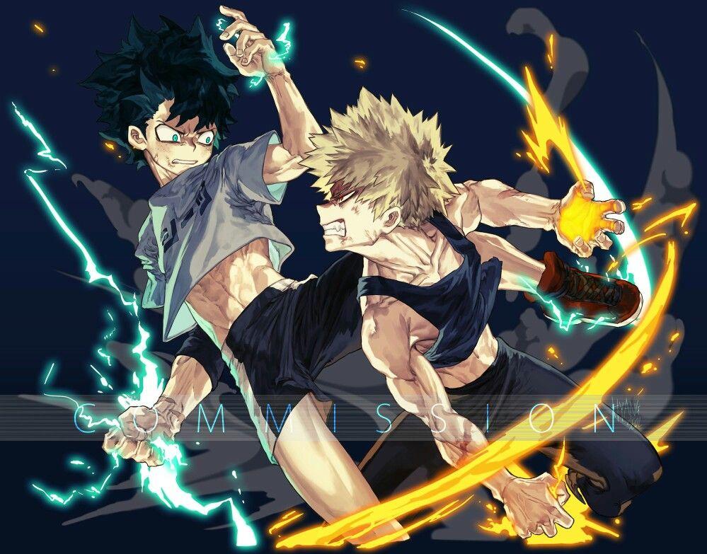 Bakugou X Midoriya My Hero Academia Cred Hyang Seol Anime Fight My Hero Anime