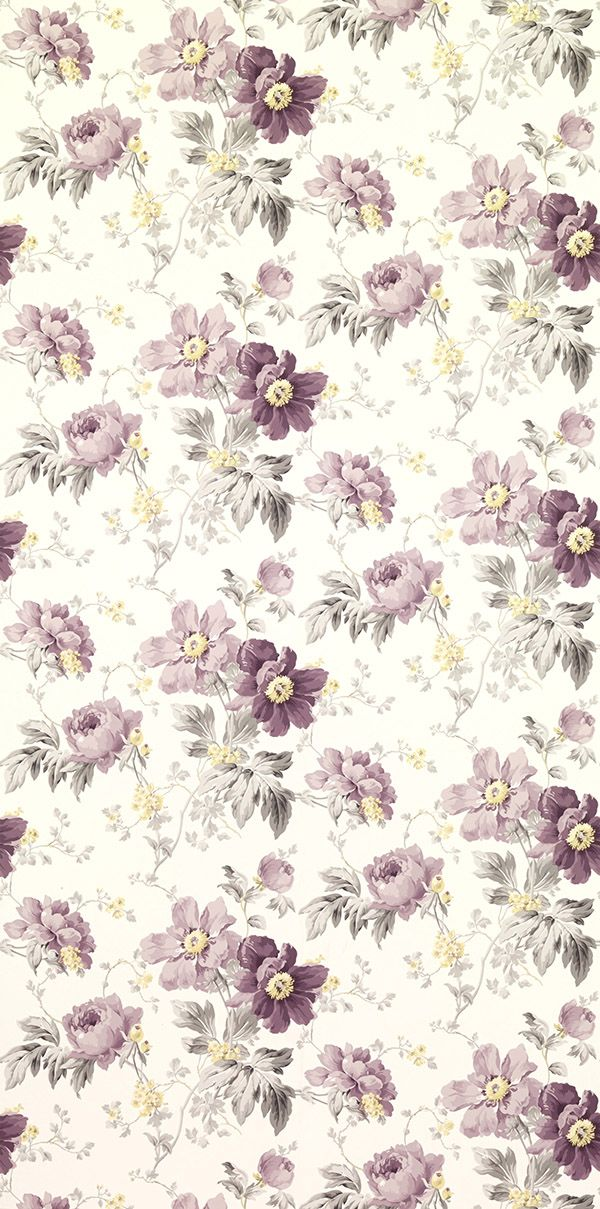Peony Garden Amethyst From The Laura Ashley Wallpaper Collection