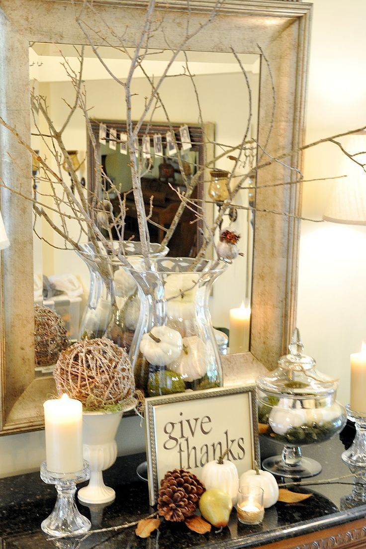 Thanksgiving & Fall decorations entry console vignette with natural ...