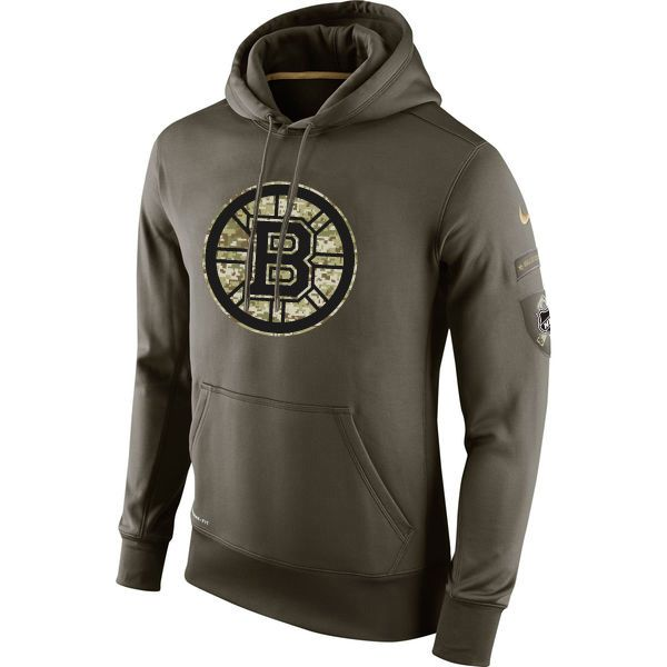 a136e877c Bruins Nike Olive Salute To Service KO Performance Pullover Hoodie ...