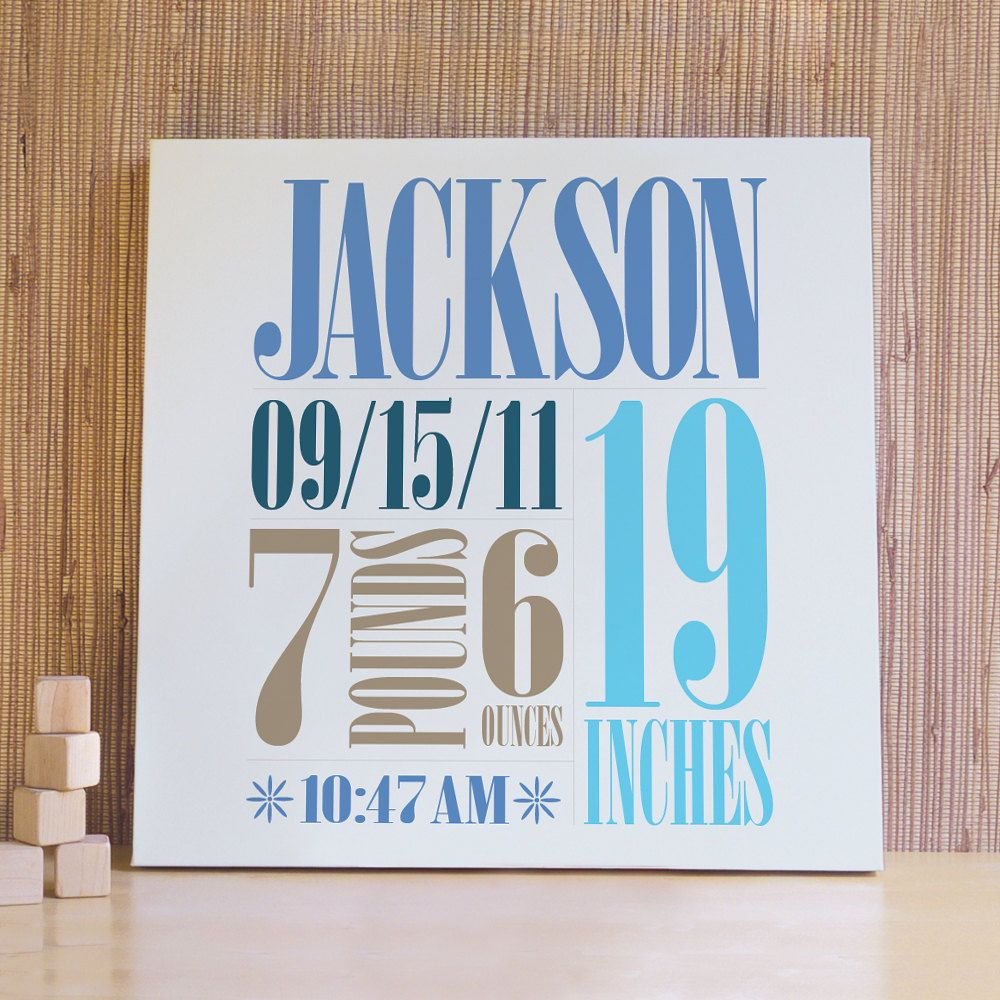 Personalized Nursery Art Decor For Baby Kids And Children Rooms 20x20 Custom Birth Canvas Pool Blue Brown 79 00 Via Etsy