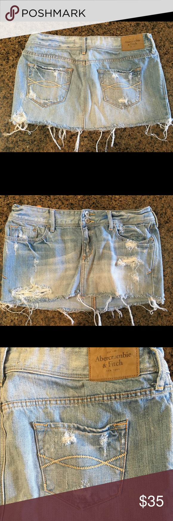 Abercrombie light denim short skirt Low rise light denim Abercrombie skirt. Fits comfortably at the waste Abercrombie & Fitch Skirts