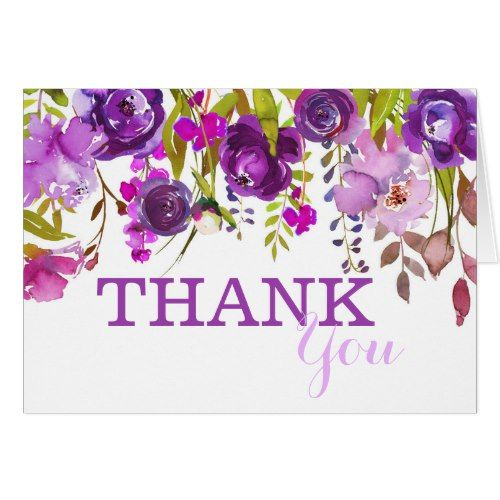 Purple Flowers Watercolor Floral Thank You