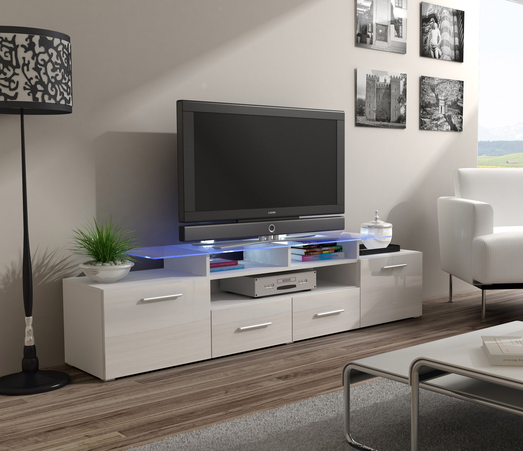 Meuble Tv Bas Angle Enea White White Tv Unit Modern Tv Units And Tv Stand Designs