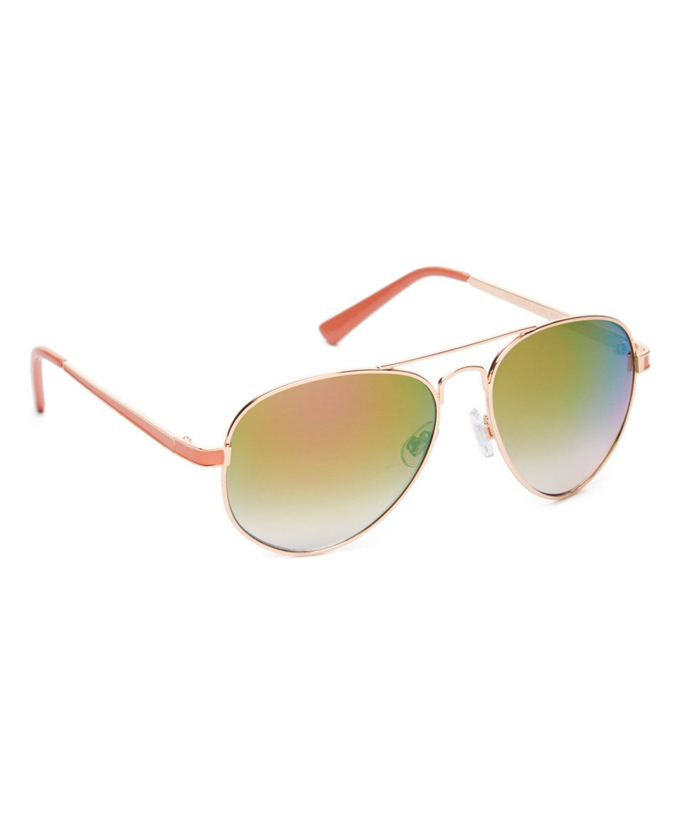 974bffbd3aa Rose Gold   Coral Mirrored Aviator Sunglasses by Circus by Sam Edelman   zulily  zulilyfinds