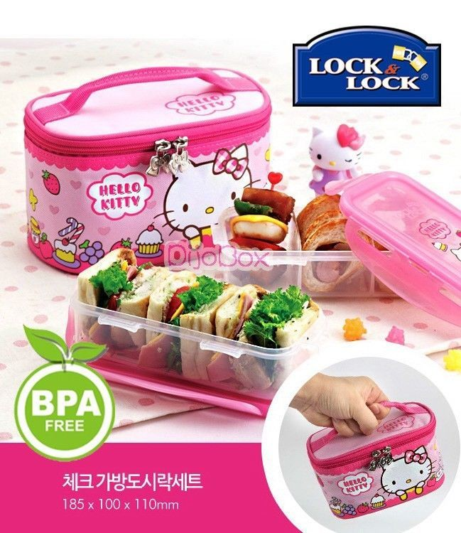 hello kitty x lock lock bpa free lunch boxes bento set w insulated bag 731lp lunch box. Black Bedroom Furniture Sets. Home Design Ideas