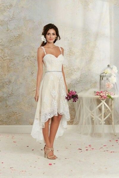 Very Simple High Low Wedding Dress Spaghetti Strap Wedding Dresses High Low Tea Length Wedding Dress Bridal Gowns Vintage