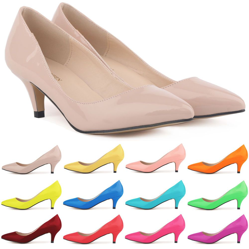 Details about Womens Sexy Low Mid Kitten Heels Shoes PU Leather ...