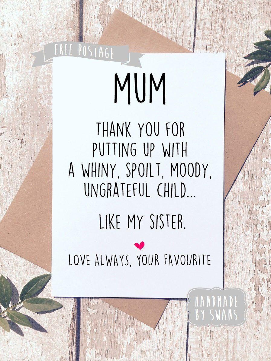 Funny birthday card for mum Like my sister birthday gift | Etsy