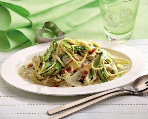 Best Spargel Rezept Spaghetti Carbonara mit gr nem und wei em Spargel Wohnen und Garten Foto
