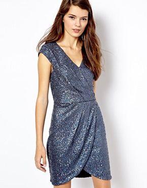 Oasis Sequin Wrap Dress Oasis Dress Blue Sequin Dress Dresses
