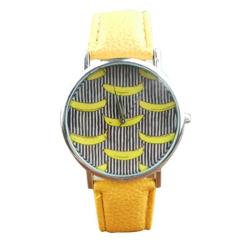 Banana Pattern Leather Band Analog Quartz Vogue Wrist Watches