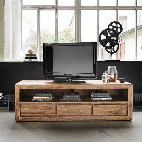 Mobili In Legno Grezzo Ikea.Porta Tv A 3 Cassetti In Sheesham Massiccio E Acacia Mobili Tv