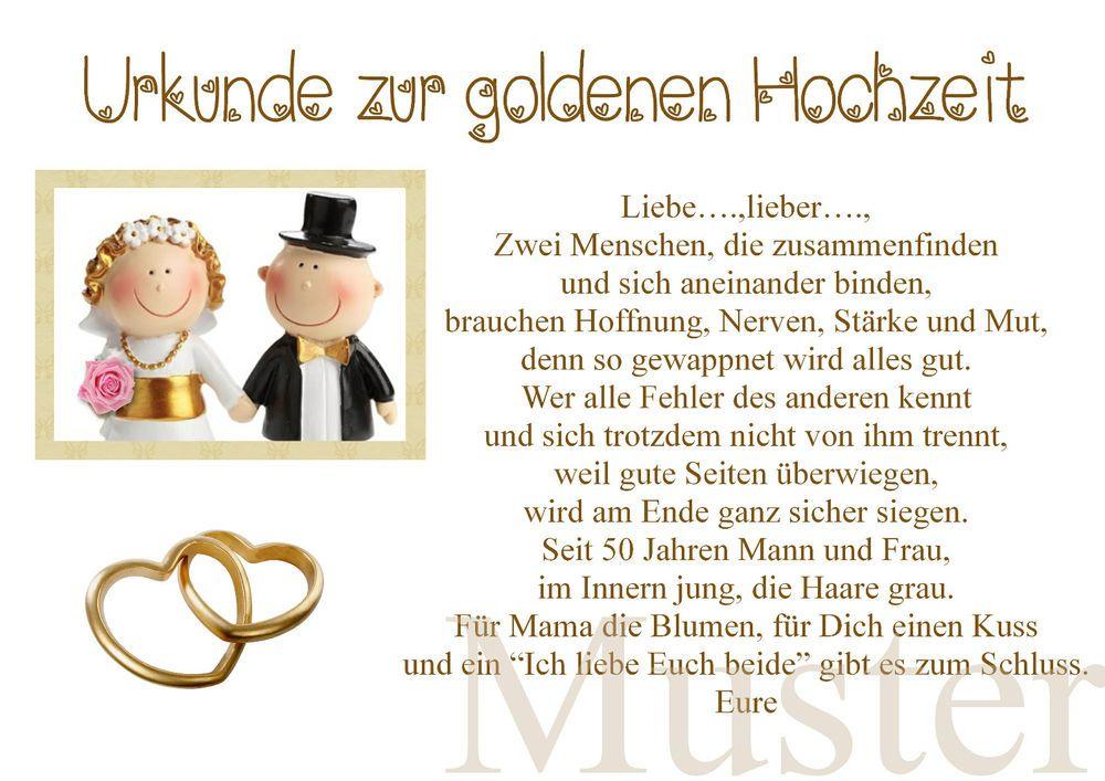 Urkunde Zur Goldene Hochzeit 50 Hochzeitstag Gold Brautpaar In Din