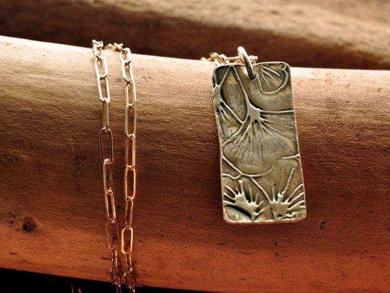 Gingko Rectangle pendant