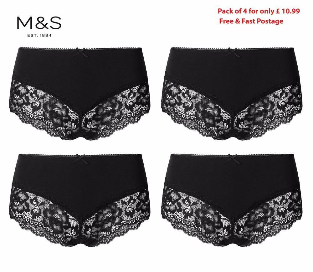 authentic quality various kinds of release date Details about M&S Lingerie PACK of 4 BLACK Cotton Floral ...