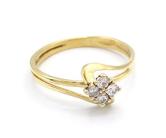 08d61c37b Zlatý dámský prsten zdobený kytkou ze zirkonů ze žlutého zlata. Levné zlato!  Elegantní, stylový, vkusný. Váha: 2,10g Velikost: 57, výška 8mm 585/1000 Au  ...