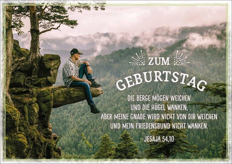 Postkarte Geburtstag Mann Auf Fels Gottes Segen Zum Geburtstag