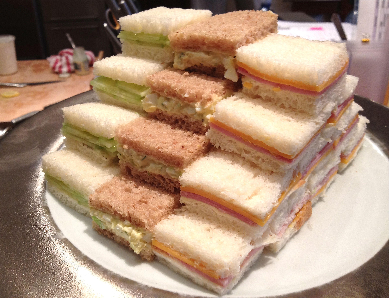 A Trio Of Tiny Tea Sandwiches Tea Sandwiches Tea Sandwiches Recipes High Tea Sandwiches