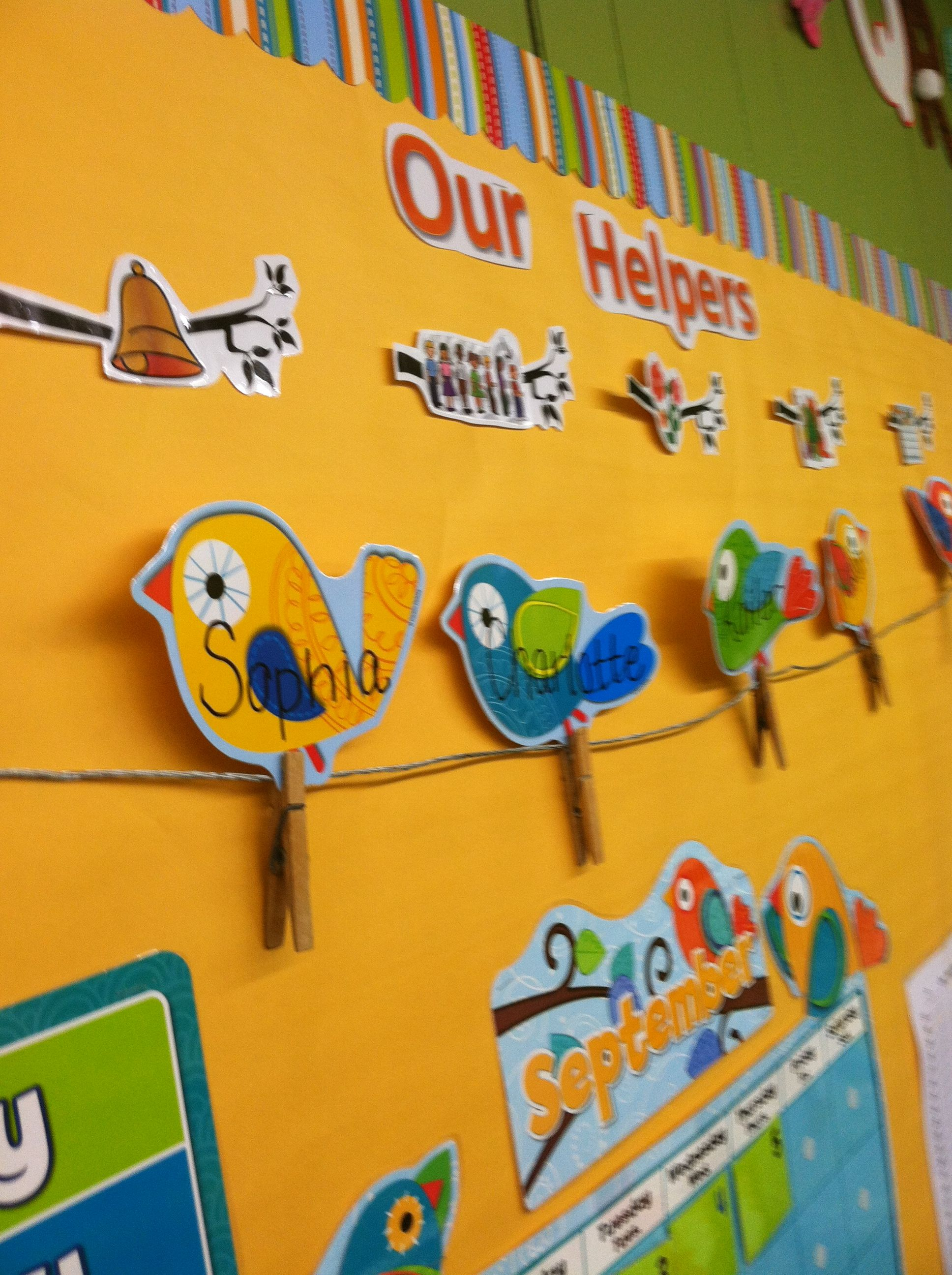 Birds on  wire helper chart cool classroom theme ideas for preschool also best images pinterest decor rh