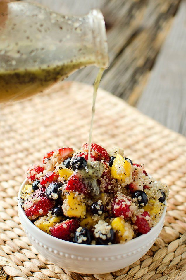 Fruit salad with citrus poppy seed dressing