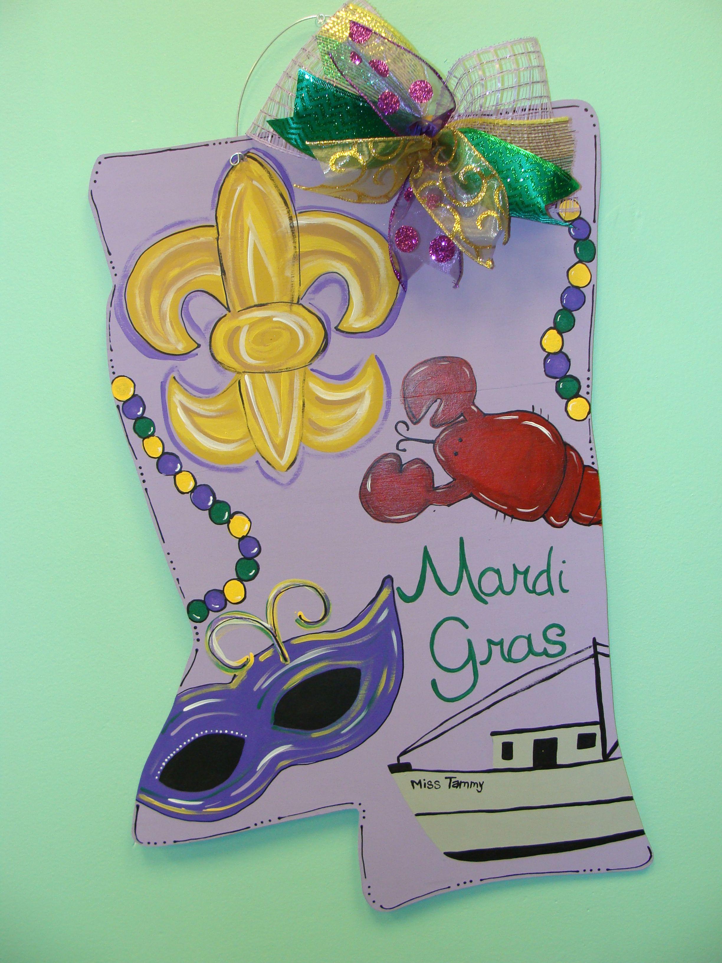 Mardi Gras Fleur de Lis Mississippi Door Hanger
