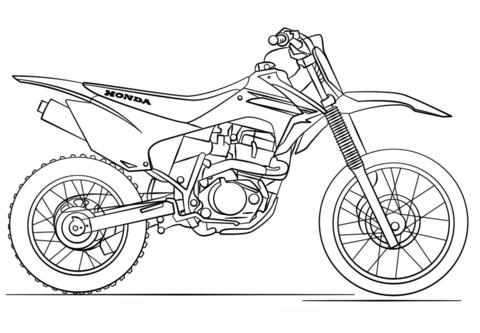 Moto de trial de Honda Dibujo para colorear | Referencias ...