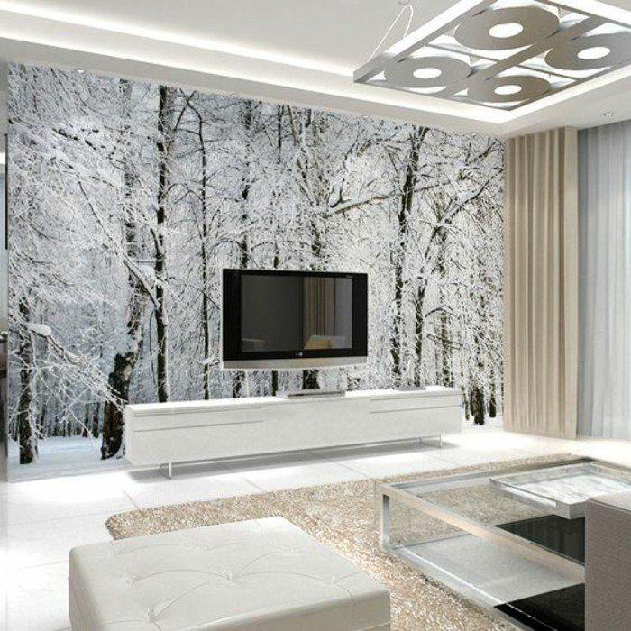 Paysage enneigé dans un salon moderne tapisserie murale imprimée