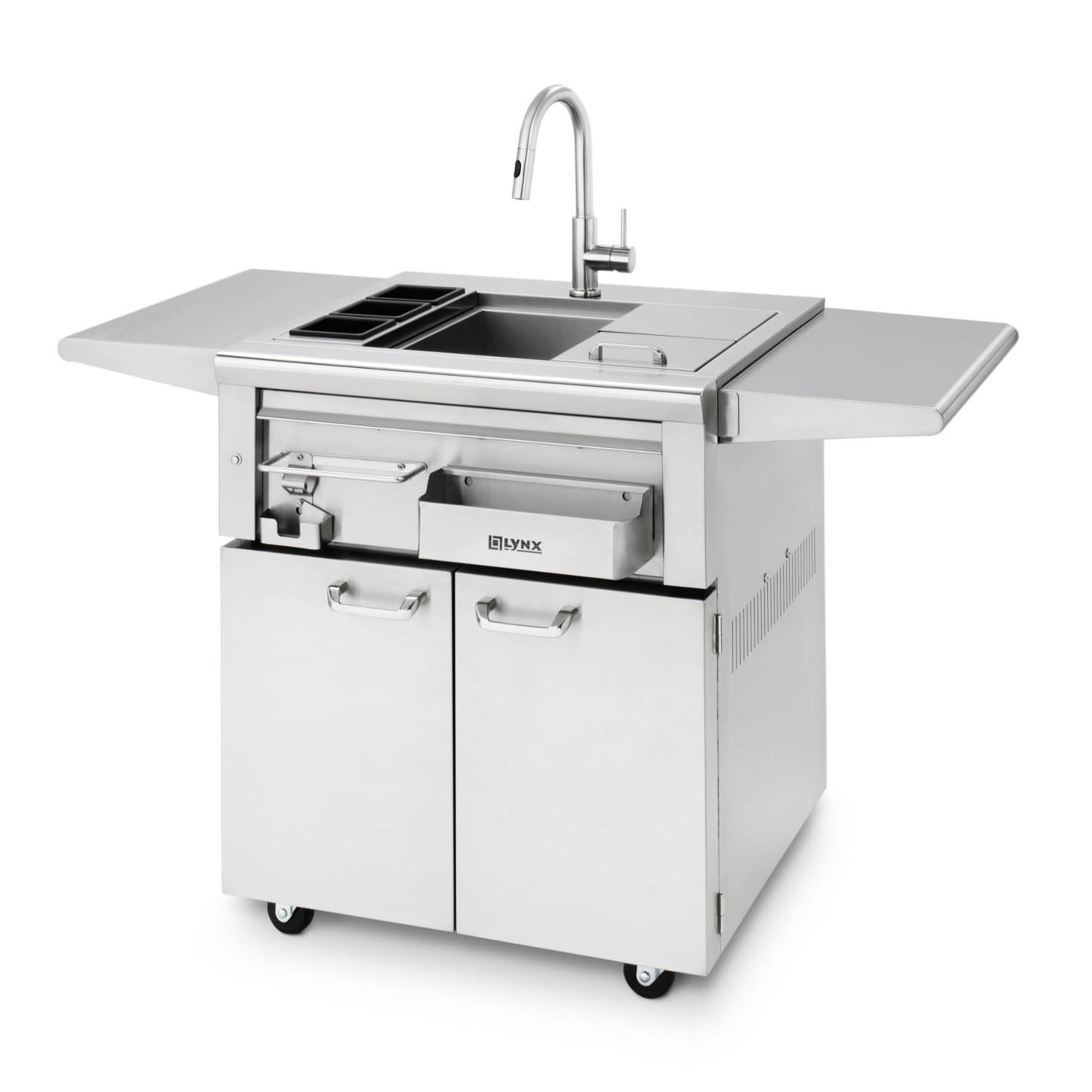 Lynx 30 Inch Freestanding Cocktail Station With Sink Ice Bin Cooler Bbqguys In 2020 Cocktail Station Outdoor Kitchen Sink Modular Outdoor Kitchens