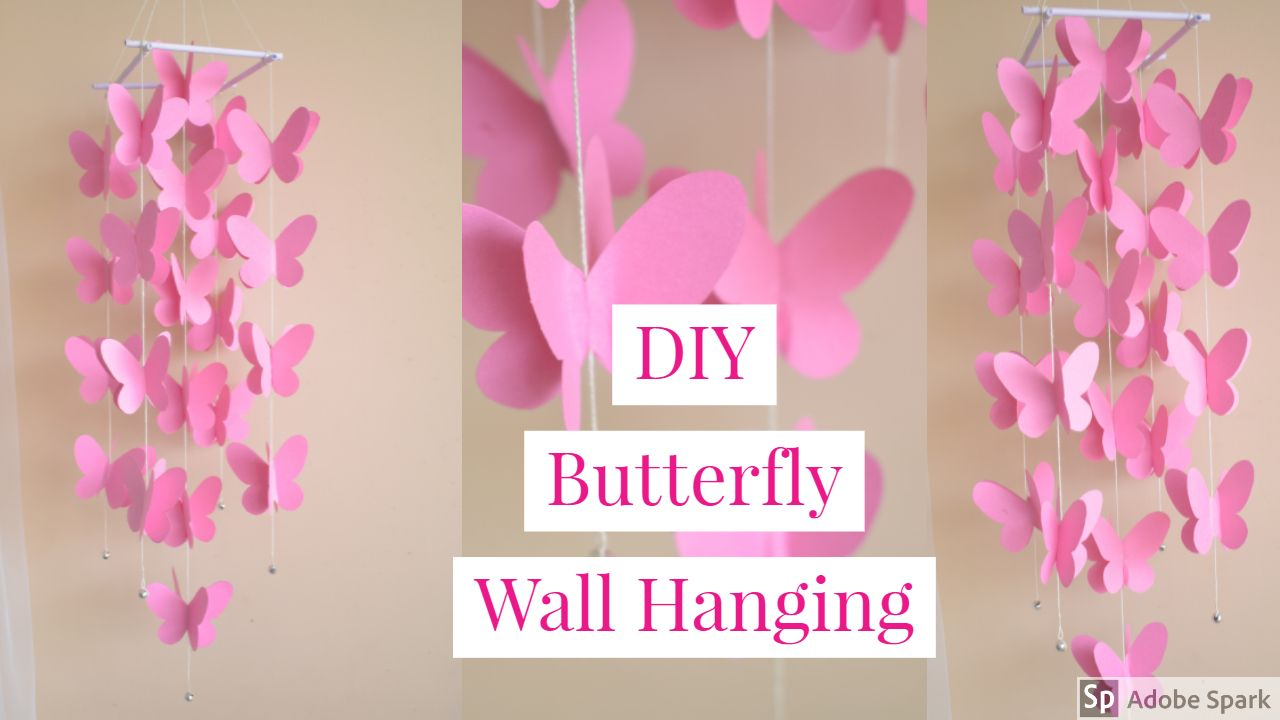 30 Butterflies 3 Lanterns Paper Art Hanging 3d Pink White