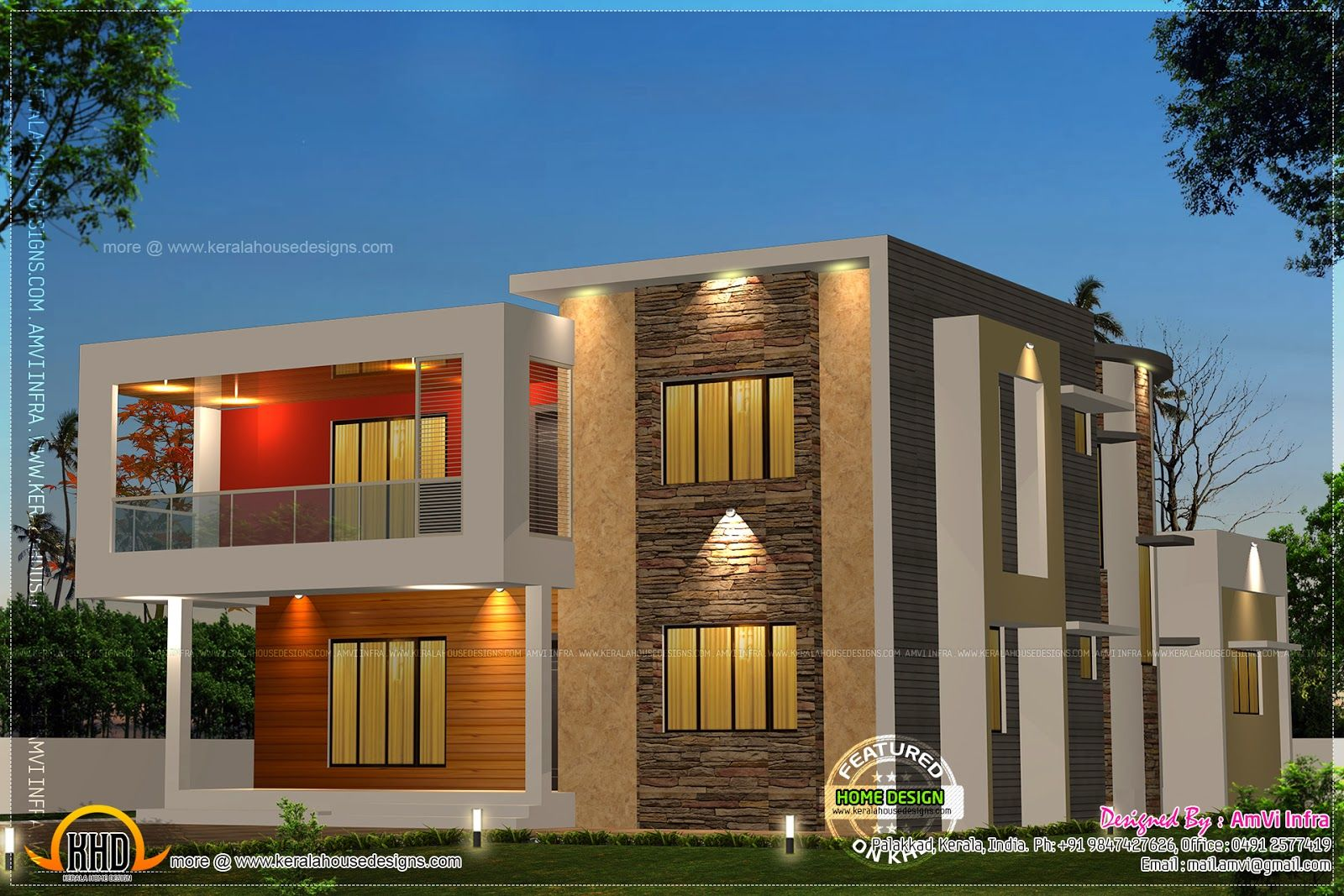 5 Bedroom Contemporary House With Plan   Kerala Home Design And Floor Plans
