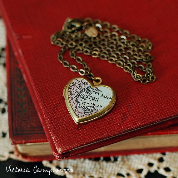 Boston Map Necklace Vintage Brass Heart by VictoriaCampDesigns, $35.00