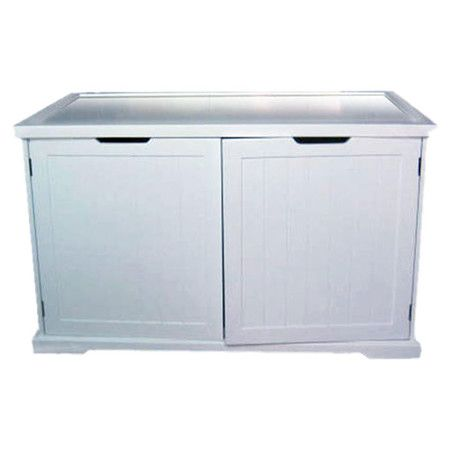2 Door Kitty Condo Bench In White With A Pre Cut Hole For Automated Litter Bo And Removable Parion Designed To Fit Most